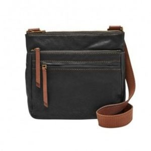 Fossil Corey Black Goat Leather Crossbody Bag